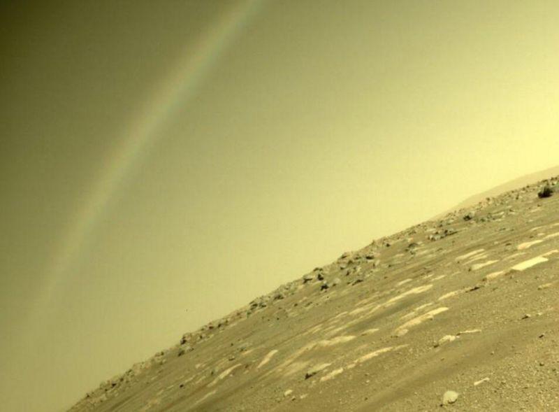 Suposto arco-íris foi capturado pelo rover Perseverance - (Foto: Nasa)